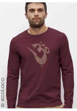 organic tee shirt long sleeves OM YOGA MANTRA fairwear craftman France vegan ecowear - Ecoloco
