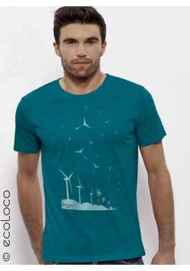 organic Tee shirt SEEDS OF THE FUTURE fairwear  craftman France vegan ecowear wind turbine