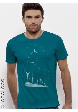 Bio-T-Shirt SAMEN DER ZUKUNFT Windkraftwerk Löwenzahn militantes Gentechnikfreie Herstellung gedruckt in Frankreich Handwerker - Ecoloco