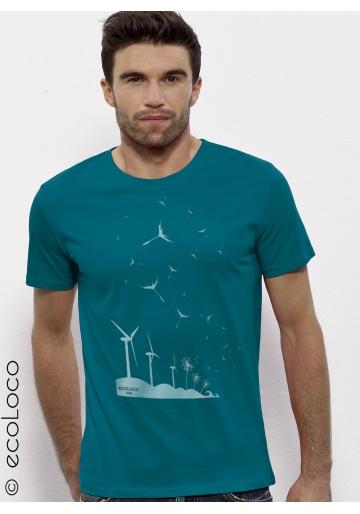 Bio-T-Shirt SAMEN DER ZUKUNFT Windkraftwerk Löwenzahn militantes Gentechnikfreie Herstellung gedruckt in Frankreich Handwerker