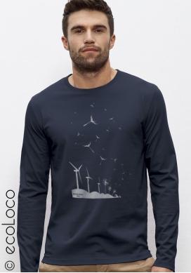 organic Tee shirt long sleeves SEEDS OF THE FUTURE fairwear  craftman France vegan ecowear wind turbine