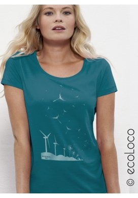 organic women Tee shirt SEEDS OF THE FUTURE fairwear craftman France vegan ecowear wind turbine - Ecoloco