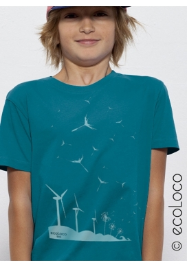 organic children Tee shirt SEEDS OF THE FUTURE fairwear  craftman France vegan ecowear wind turbine
