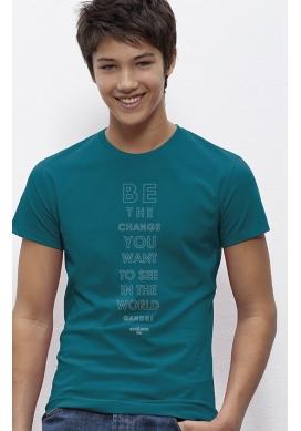 organic tee shirt BE THE CHANGE Colibri Gandhi fairwear craftman France vegan ecowear - Ecoloco