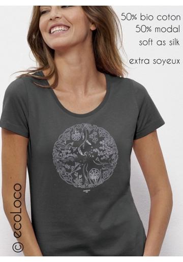Bio-T-Shirt DAS RAD DES LEBENS Modal gedruckt in Frankreich Handwerker fairwear vegane Kleidung