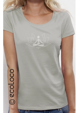 organic women tee shirt MEDITATION fairwear craftman France vegan ecowear - Ecoloco