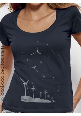 organic women Tee shirt SEEDS OF THE FUTURE fairwear ecofriendly craftman France vegan ecowear wind turbine