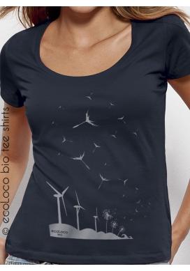 organic women Tee shirt SEEDS OF THE FUTURE fairwear ecofriendly craftman France vegan ecowear wind turbine - Ecoloco