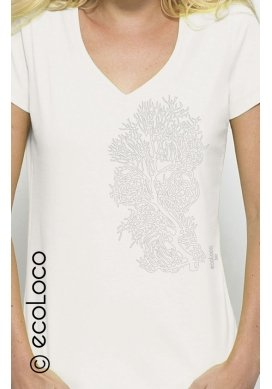 organic women tee shirt CORAL fairwear craftman France vegan ecowear V neck - Ecoloco