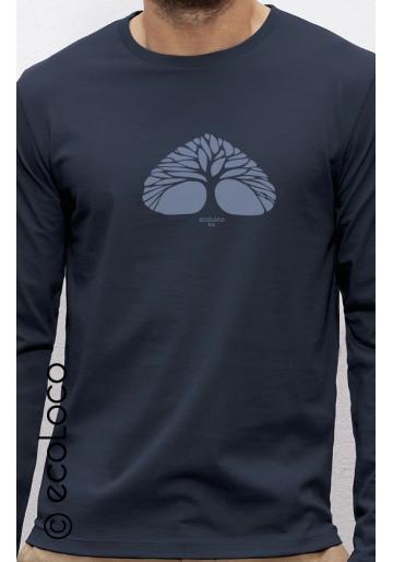 organic tee shirt long sleeves BREATHING TREE fairwear craftman France vegan ecowear