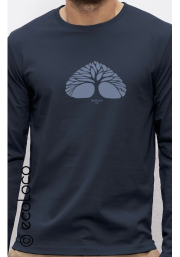 T-shirt bio RESPIRE imprimé en France artisan manches longues équitable vegan fairwear
