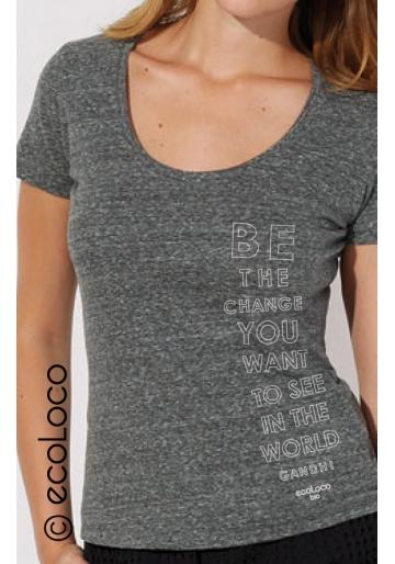 T-shirt bio BE THE CHANGE imprimé en France artisan mode éthique équitable vegan clothing
