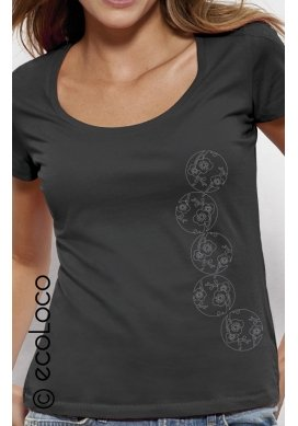Bio-T-Shirt JAPANISCHER KIRSCHBAUM vegane Bekleidung ethische Mode Frau gedruckt in Frankreich Handwerker - Ecoloco