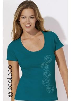 Bio-T-Shirt JAPANISCHER KIRSCHBAUM vegane Bekleidung fairwear Frau gedruckt in Frankreich Handwerker - Ecoloco