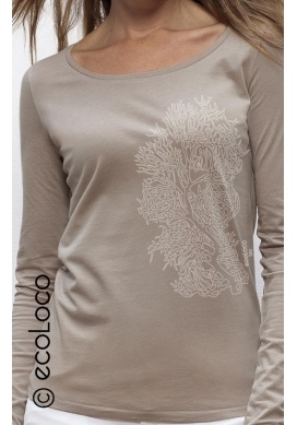 organic lyocell women tee shirt long sleeves CORAL fairwear craftman France vegan ecowear V neck
