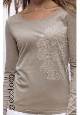 langärmeliges Bio-T-Shirt Lyocell KORALLE vegane Kleidung ethische Mode Frau gedruckt in Frankreich Handwerker - Ecoloco