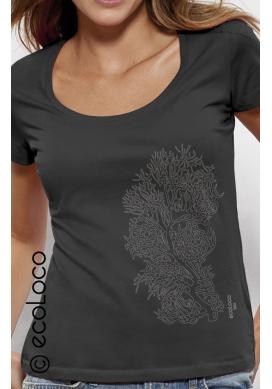 Bio-T-Shirt KORALLE vegane Bekleidung fairwear Frau gedruckt in Frankreich Handwerker - Ecoloco