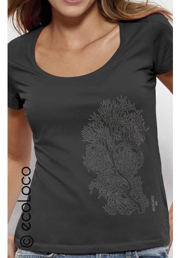 Bio-T-Shirt KORALLE vegane Bekleidung fairwear Frau gedruckt in Frankreich Handwerker