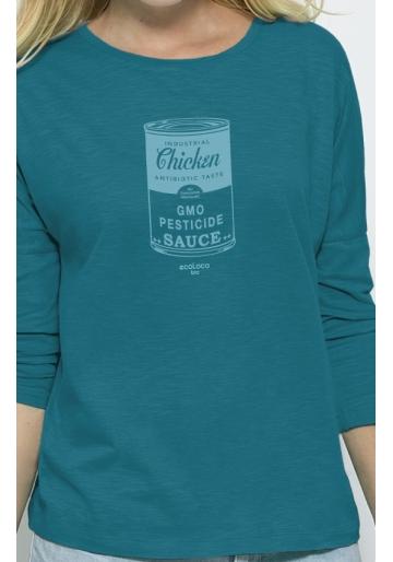 organic women tee shirt long sleeves GMO CHICKEN fairwear craftman France vegan ecowear