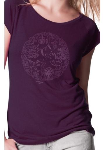 T-shirt bio LA ROUE DE LA VIE bambou imprimé en France artisan mode éthique équitable fairwear femme