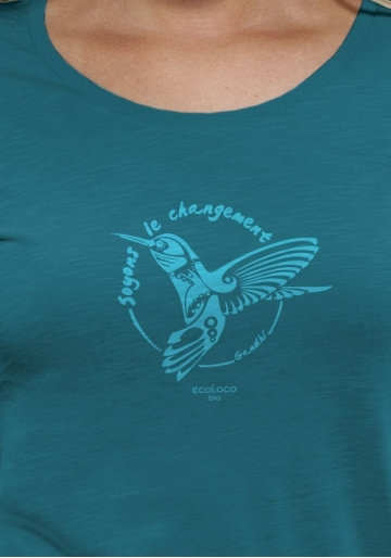organic women tee shirt BE THE CHANGE Colibri Gandhi  fairwear craftman France vegan ecowear