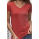 Bio-T-Shirt KORALLE vegane Bekleidung fairwear Frau gedruckt in Frankreich Handwerker V-Kragen
