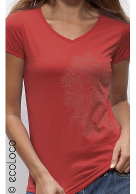 organic women tee shirt CORAL fairwear craftman France vegan clothing ecowear