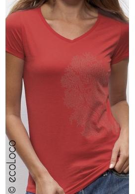 Bio-T-Shirt KORALLE vegane Bekleidung fairwear Frau gedruckt in Frankreich Handwerker V-Kragen - Ecoloco