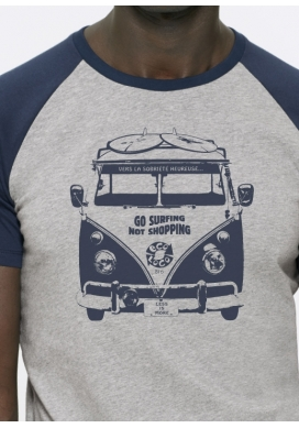 organic tee shirt HAPPY SOBRIETY go surfing not shoping fairwear craftman France vegan ecowear