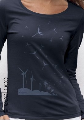 organic women Tee shirt long sleeves SEEDS OF THE FUTURE fairwear ecofriendly craftman France vegan ecowear wind turbine - Ecoloco