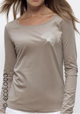 langärmeliges Bio-T-Shirt GINGKO vegane Kleidung nachhaltige Mode Frau gedruckt in Frankreich Handwerker