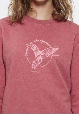 Bio-Pullover DIE VERÄNDERUNG SEIN Colibri ethische Mode fairwear gedruckt in Frankreich Handwerker Kind - Ecoloco