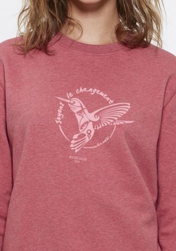organic jumper BE THE CHANGE Colibri Gandhi fairwear craftman France vegan ecowear