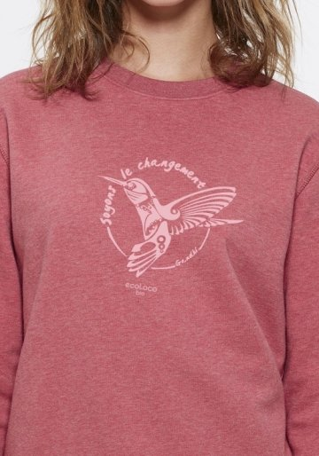 Pull bio SOYONS LE CHANGEMENT Colibri imprimé en france artisan mode éthique fairwear enfant