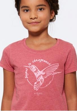 Bio-T-shirt DIE VERÄNDERUNG SEIN Colibri nachhaltige Mode fairwear gedruckt in Frankreich Handwerker Kind