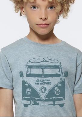 Bio-T-shirt GLÜCKLICHE NÜCHTERNHEIT nachhaltige Mode fairwear gedruckt in Frankreich Handwerker Kind