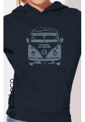 sweat shirt bio SOBRIETE HEUREUSE imprimé en France artisan mode éthique fairwear enfant noir