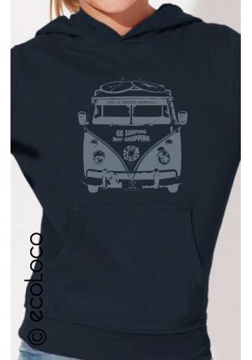 Bio-Sweat-Shirt GLÜCKLICHE NÜCHTERNHEIT nachhaltige Mode fairwear gedruckt in Frankreich Handwerker Kind
