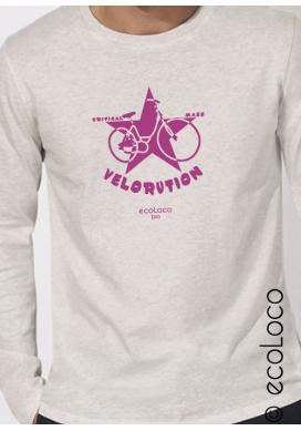 organic tee shirt long sleeves VELORUTION fairwear craftman France vegan ecowear - Ecoloco