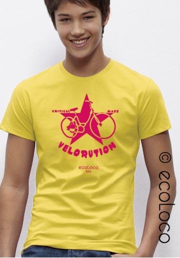 organic men tee shirt VELORUTION fairwear craftman France vegan ecowear