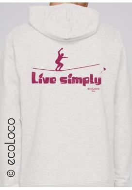 Sweat Shirt bio LIVE SIMPLY mode éthique équitable hood zippé imprimé en France artisan sportwear