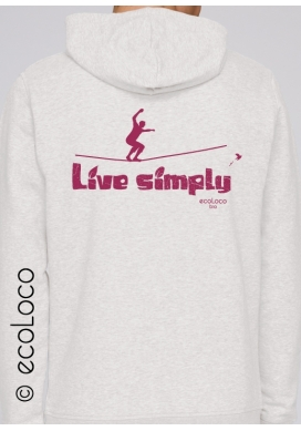 Bio Sweatshirt EINFACH LEBEN vegane Bekleidung nachhaltige Mode sportwear gedruckt in Frankreich Handwerker - Ecoloco