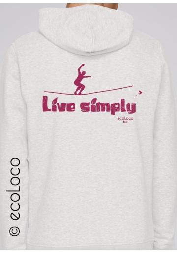 organic sweat shirt LIVE SIMPLY Slackline fairwear craftman France vegan ecowear