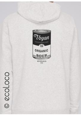 Sweatshirt bio Vegan hood zippé mode éthique équitable imprimé en France artisan sportwear - Ecoloco