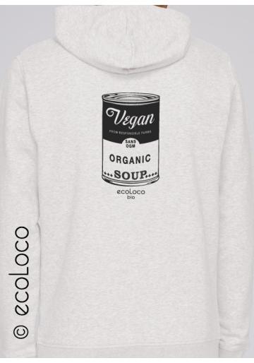 Sweatshirt bio Vegan hood zippé mode éthique équitable imprimé en France artisan sportwear