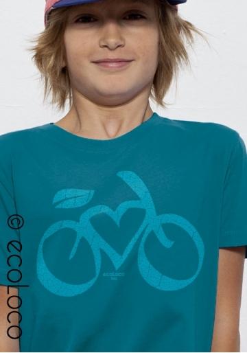 organic children tee shirt LOVE VELO fairwear craftman France vegan ecowear blue