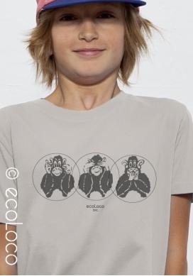 T shirt bio 3 SINGES imprimé en France artisan mode éthique équitable vegan fairwear enfant - Ecoloco