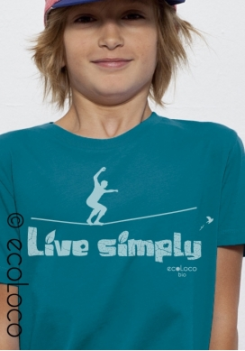 T shirt bio LIVE SIMPLY  imprimé en France artisan mode éthique équitable vegan fairwear enfant
