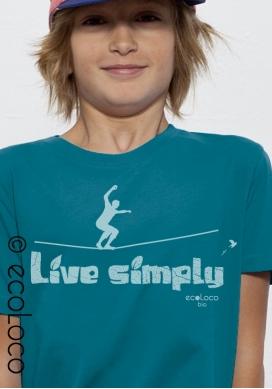 T shirt bio LIVE SIMPLY imprimé en France artisan mode éthique équitable vegan fairwear enfant - Ecoloco
