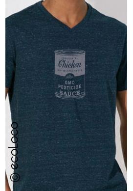 T shirt bio CHICKEN NON AUX OGM imprimé en France artisan vêtement vegan fairwear - Ecoloco